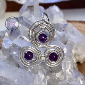 Amethyst Celtic Triskelion Silver Pendant